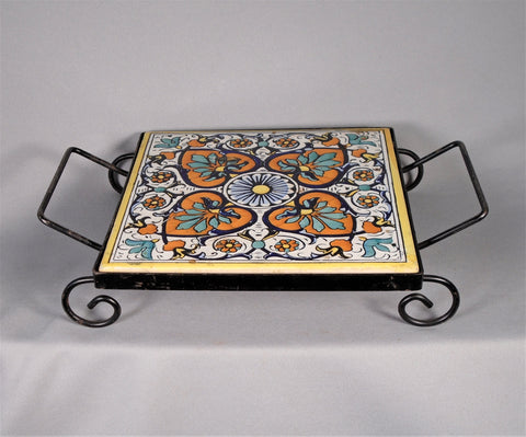 Vintage Spanish Tile Trivet with Metal Holder Bungalow Bill