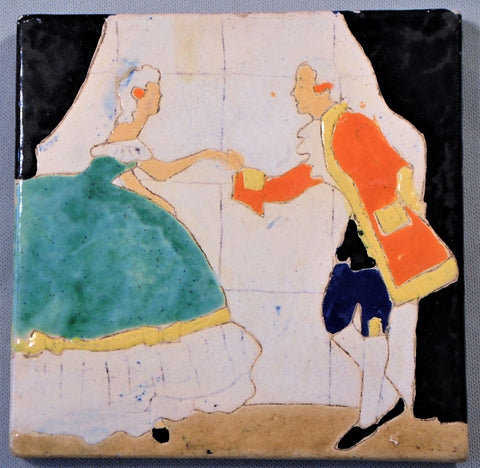 San Jose Pottery Tile Colonial Couple Dancing