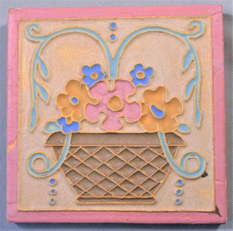 Wheatley Pottery Arts and Crafts Flower Basket Tile