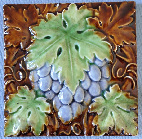 English Majolica Tile with Grapes by Craven Dunnill