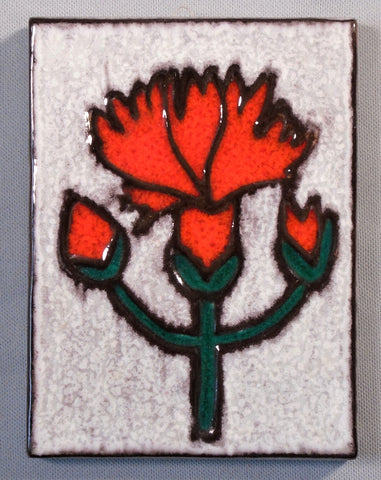 Buckeburg Tile Plaque of a Red Carnation by Helge Pfaff