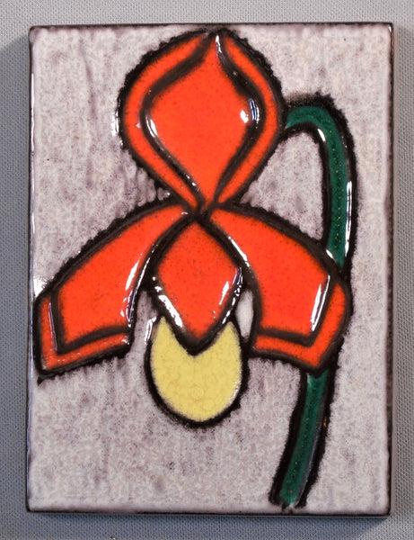 Buckeburg Tile Plaque of a Lady's Slipper Orchid by Helge Pfaff