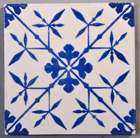 Pugin for Minton Hollins Gothic Revival Tile Bamboo in Blue & White