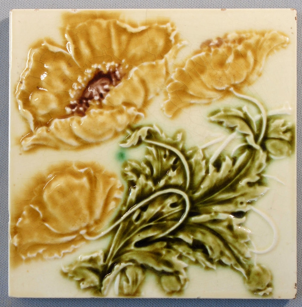 English Art Nouveau Tile Gold Poppies