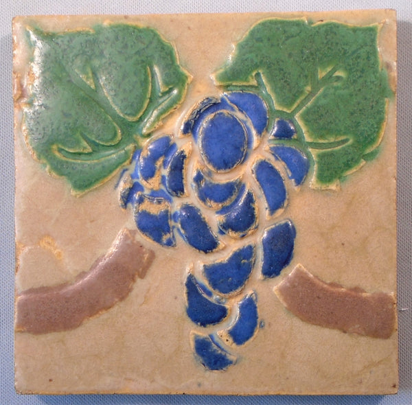 Grueby Pottery Tile Grapes Boston Arts and Crafts