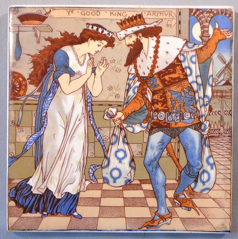Walter Crane Illustration Advertising Tile Trivet Nursery Rhyme Good King Arthur by AETCO