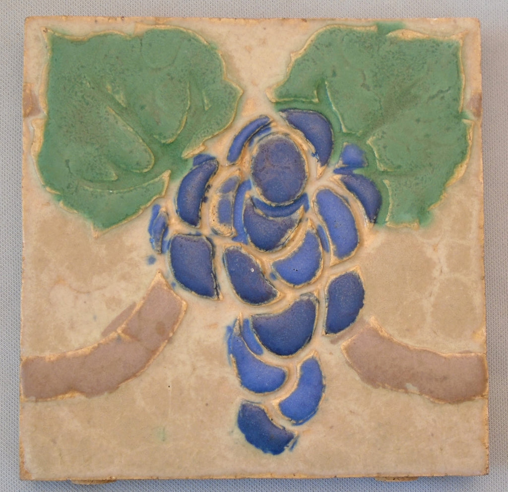 Grueby Pottery Tile Grapes Boston Arts and Crafts Bungalow Bill Antique