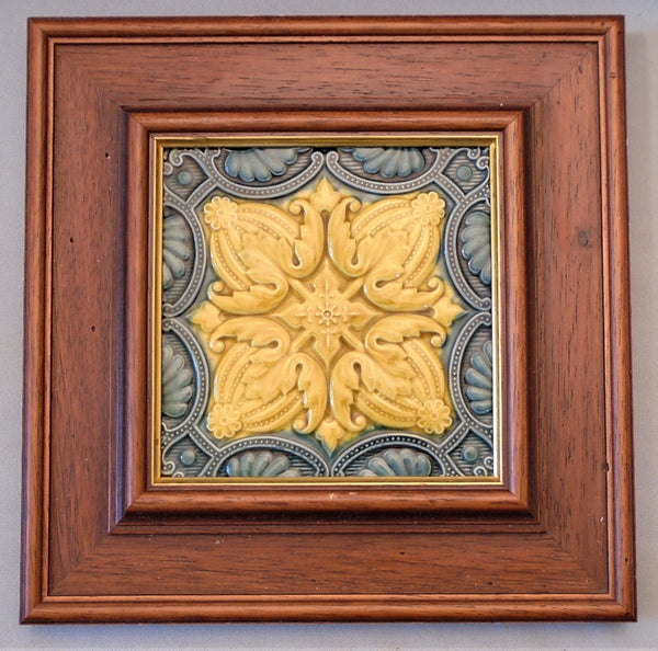 English Art Nouveau Flower Tile Framed Bungalow Bill Antique