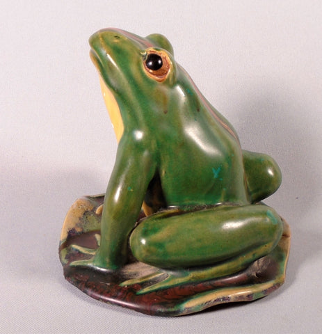 Vintage Art Pottery Garden Frog Statue Bungalow Bill Antique
