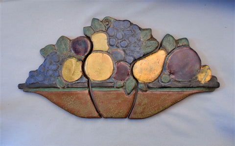 Solon and Schemmel Tile Co Arts & Crafts Panel of a Bowl of Fruit Bungalow Bill Antique
