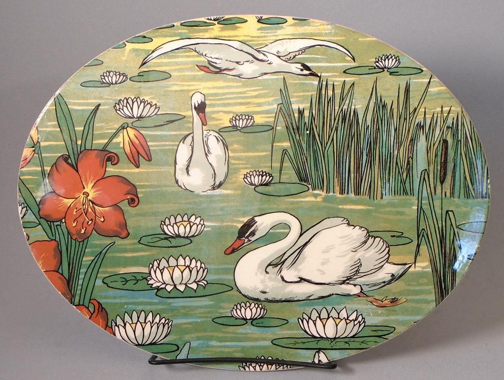 Art Nouveau Tile Platter Swans and Waterlilies Bungalow Bill Antique