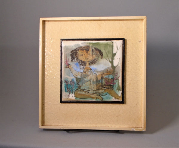 Gertrude Barrer Russell Tile in Frame, Figure with a Caged Bird Bungalow bill antque