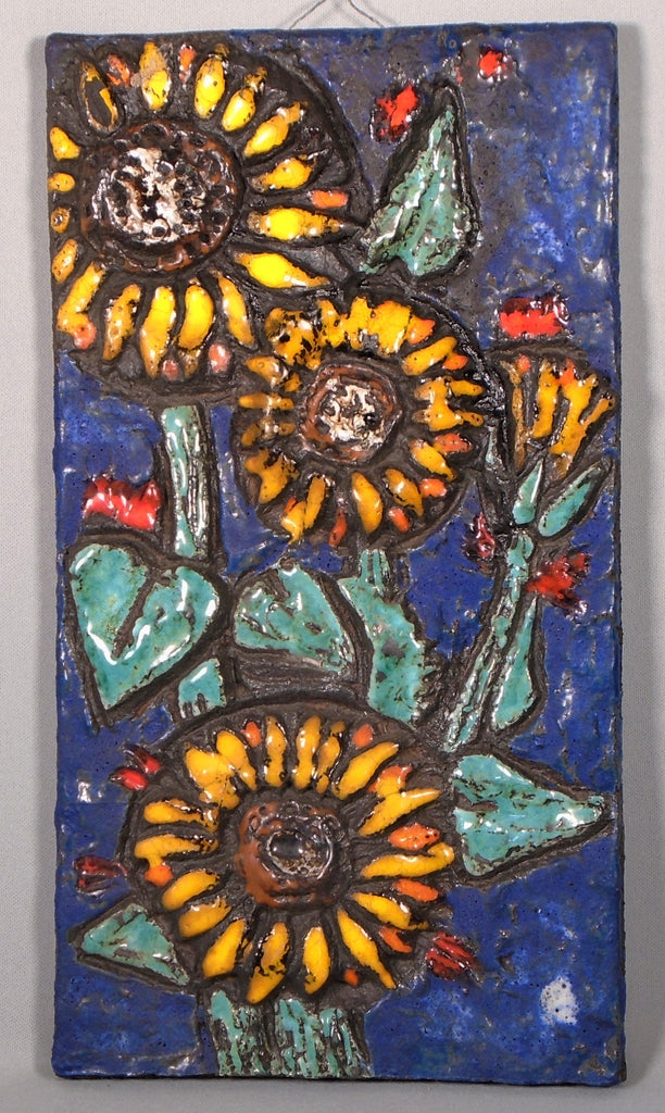 Ruscha Mid Century Modern Wall Tile of Sunflowers, West German Art Pottery Plaque Bungalow Bill Antique
