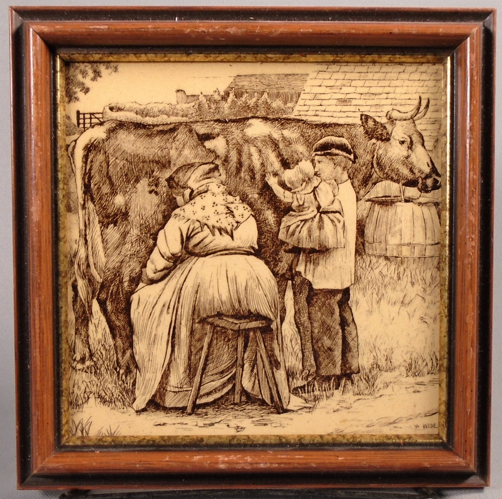 Minton Antique English Transfer Tile Country Pursuits Milking a Cow Bungalow Bill