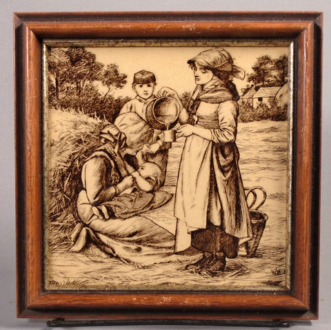 Minton Antique English Transfer Tile Country Pursuits Milk Breastfeeding Bungalow Bill