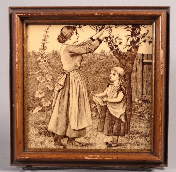 Minton Antique English Transfer Tile Country Pursuits Picking Apples Bungalow Bill