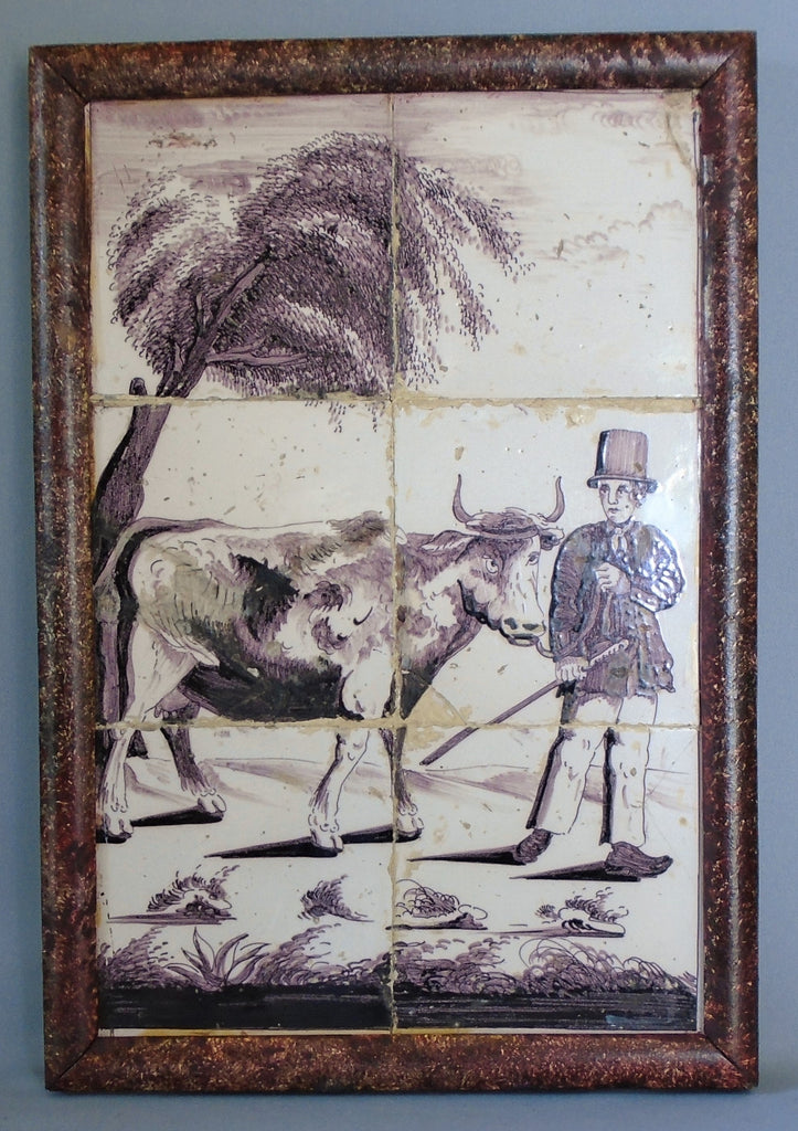 Dutch Delft Tile Panel of a Man and Cow Bungalow Bill Antique