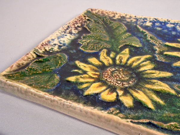 Karlsruhe Majolika Tile Sunflowers Wall Plaque Bungalow Bill Antique