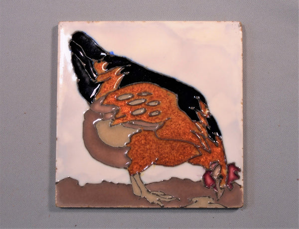 AETCO LA Tubelined Tile  Chicken American Encaustic Tile Company Los Angeles Bungalow Bill Antique