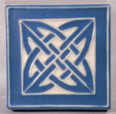 Rookwood Pottery Tile Trivet Blue and White Celtic Knot 1915