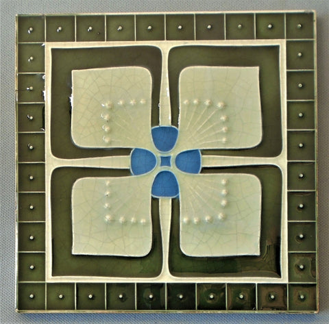 German Secessionist Tile Geometric Flower by Boizenberg