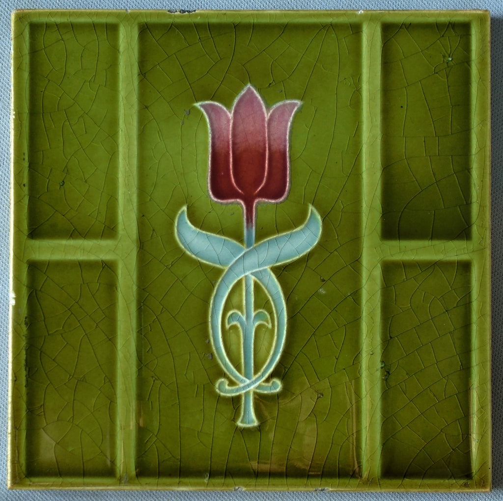 Sherwin Cotton English Arts and Crafts Tile Single Tulip Bungalow Bill Antique