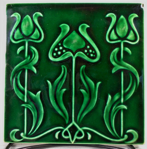 English Art Nouveau Tile Three Tulips in Green Bungalow Bill Antique