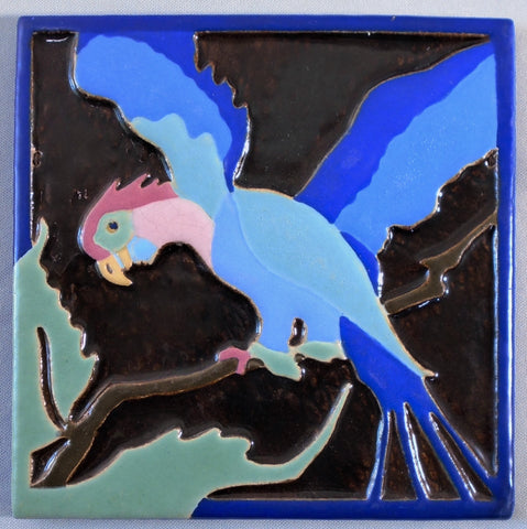 Art Deco Parrot Tile by Franklin Pottery Faience Bungalow Bill Antique