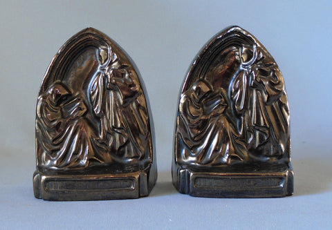 "Continental Faience & Tile Co. Bookends ""Solitude"" Bungalow Bill Antique"