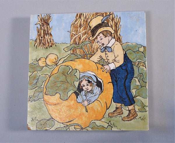 Vintage Hand Painted Tile Children in a Pumpkin Patch with Corn Stalks Penny Marshall Bungalow Bill Antique