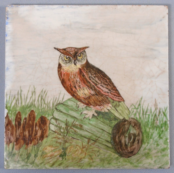 Victorian Era Hand Painted Tile of an Owl Bungalow Bill Antique