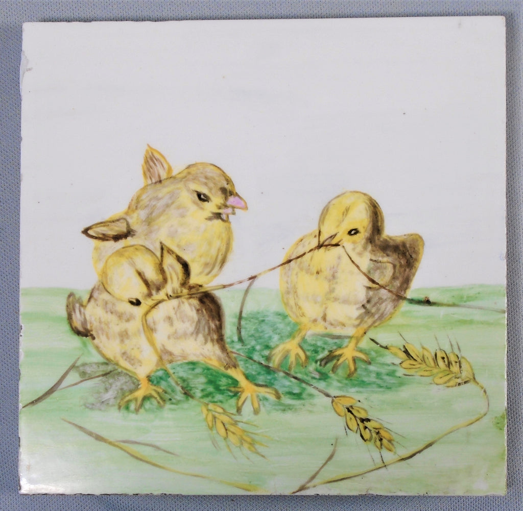 Victorian Era Hand Painted Tile of Baby Chicks Bungalow Bill Antique