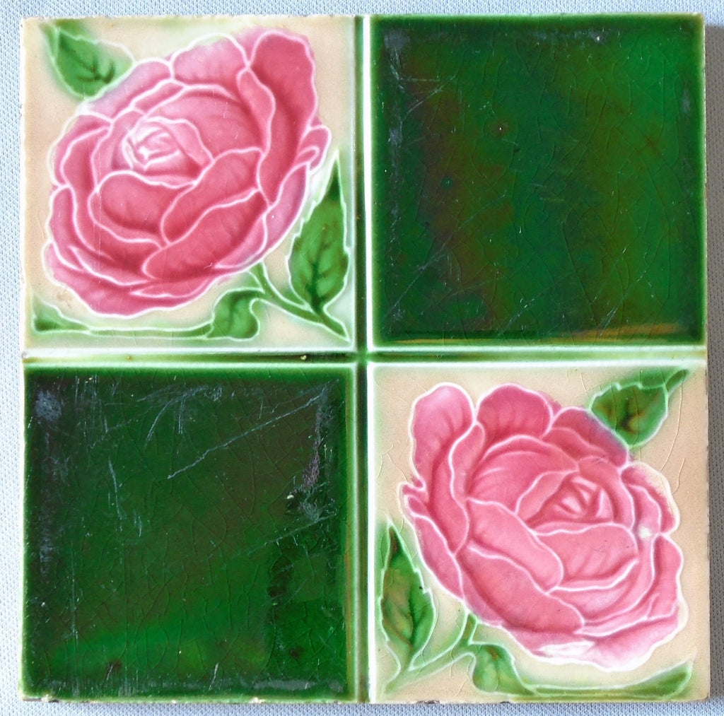 Alfred Meakin Tile Pink Rose Bungalow Bill Antique