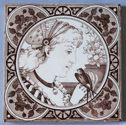 English Aesthetic Movement Tile Portrait if a Girl with Bird Bungalow Bill Antique
