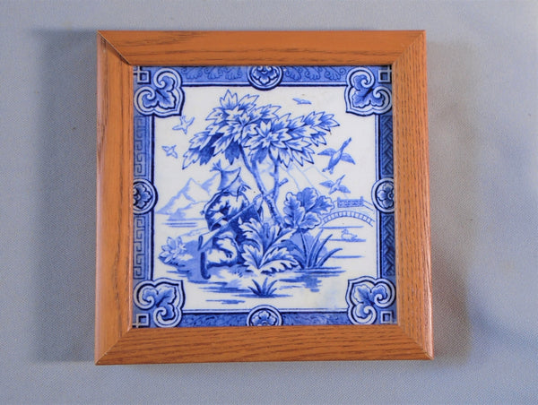 Minton Blue and White English Chinoiserie Transferware Tile Framed Duck Hunting Bungalow Bill Antique