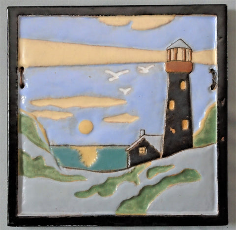 Franklin Pottery Tile Lighthouse Bungalow Bill Antique
