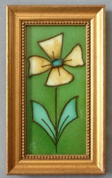 English Art Nouveau Tile Tubelined Yellow Flower Framed Bungalow Bill Antique