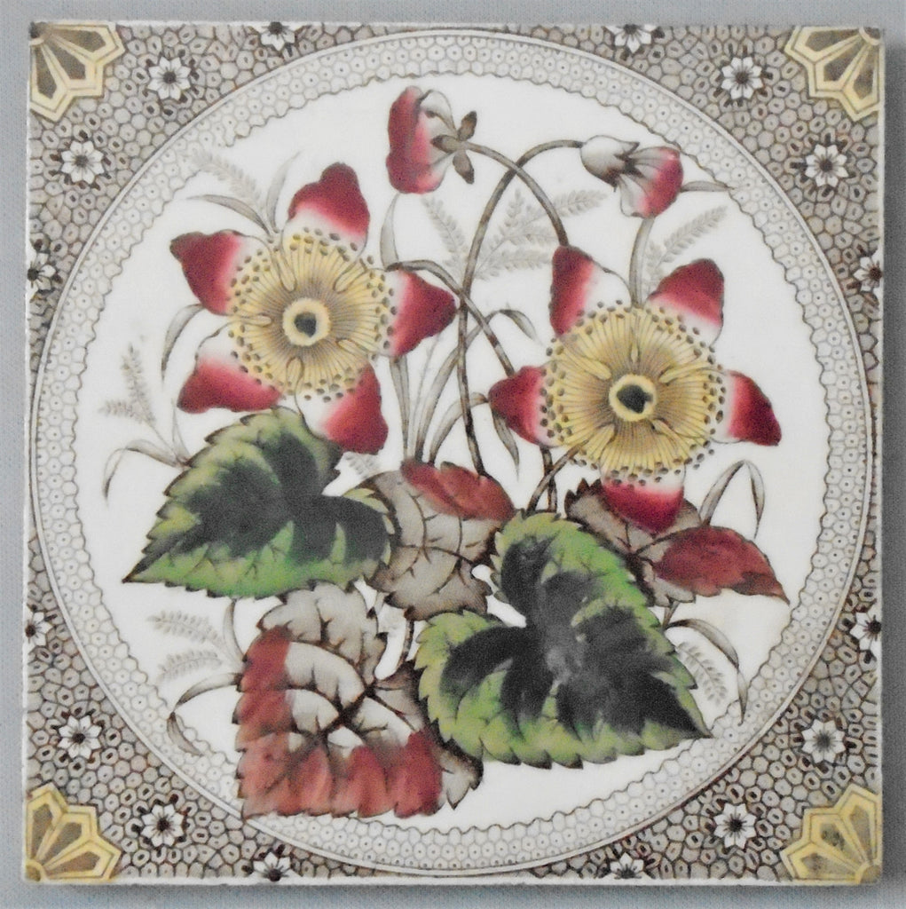 Victorian England Transfer Ware Tile Anemone Flowers Bungalow Bill Antique