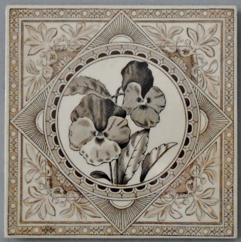 Aesthetic Movement Transferware Tile of Pansies by Craven Dunnill Bungalow Bill Antique
