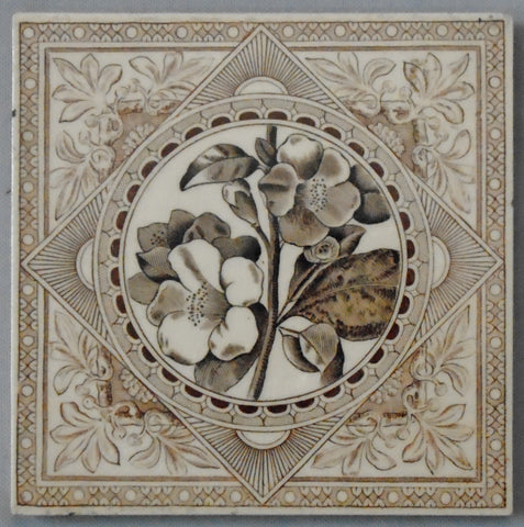 Aesthetic Movement Transferware Tile of Magnolia Flowers by Craven Dunnill Bungalow Bill Antique
