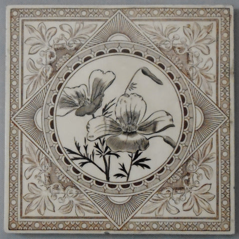 Aesthetic Movement Transferware Tile of Coreopsis Flowers by Craven Dunnill Bungalow Bill Antique