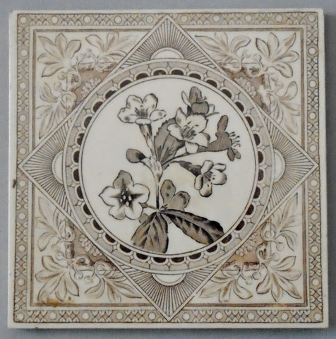 Aesthetic Movement Transferware Tile of Nicotiana Flowers by Craven Dunnill Bungalow Bill Antique