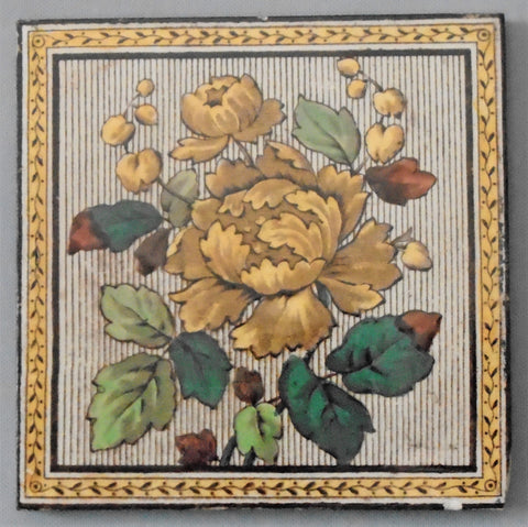 English Aesthetic Movement Transfer Tile Tree Peony Bungalow Bill Antique