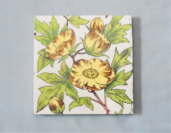 Vintage Maw Tile Tree Peony Bungalow Bill Antique