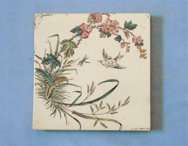 English Victorian Tile of a Bird Chasing a Dragonfly Bungalow Bill Antique