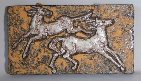 Mid Century Tile Wall Plaque Horses Bungalow Bill Antique
