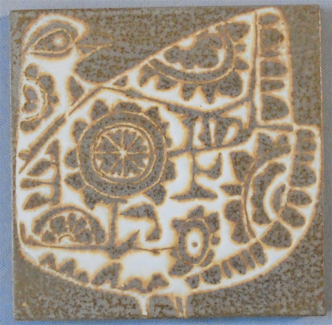 Royal Copenhagen Aluminia Faience Pottery Tile Hippie Partridge Bungalow Bill Antique