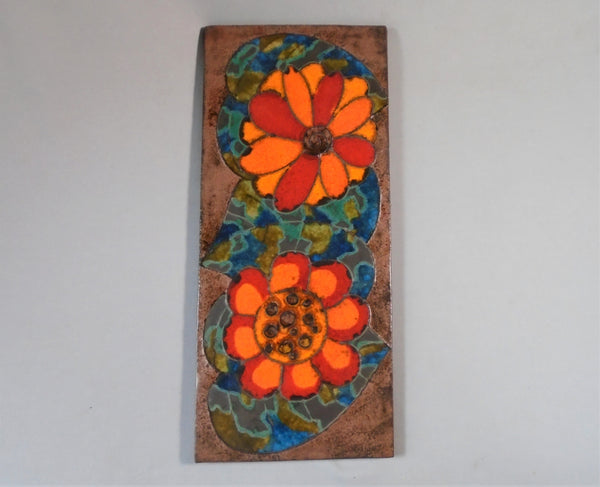 Mid Century Mod Wall Tile with Orange Flowers by Ruscha BungalowBILL antique