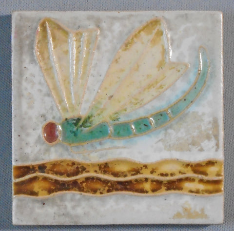 Antique Royal Delft Dragonfly Tile Arts and Crafts Porceleyne de Fles Bungalow Bill