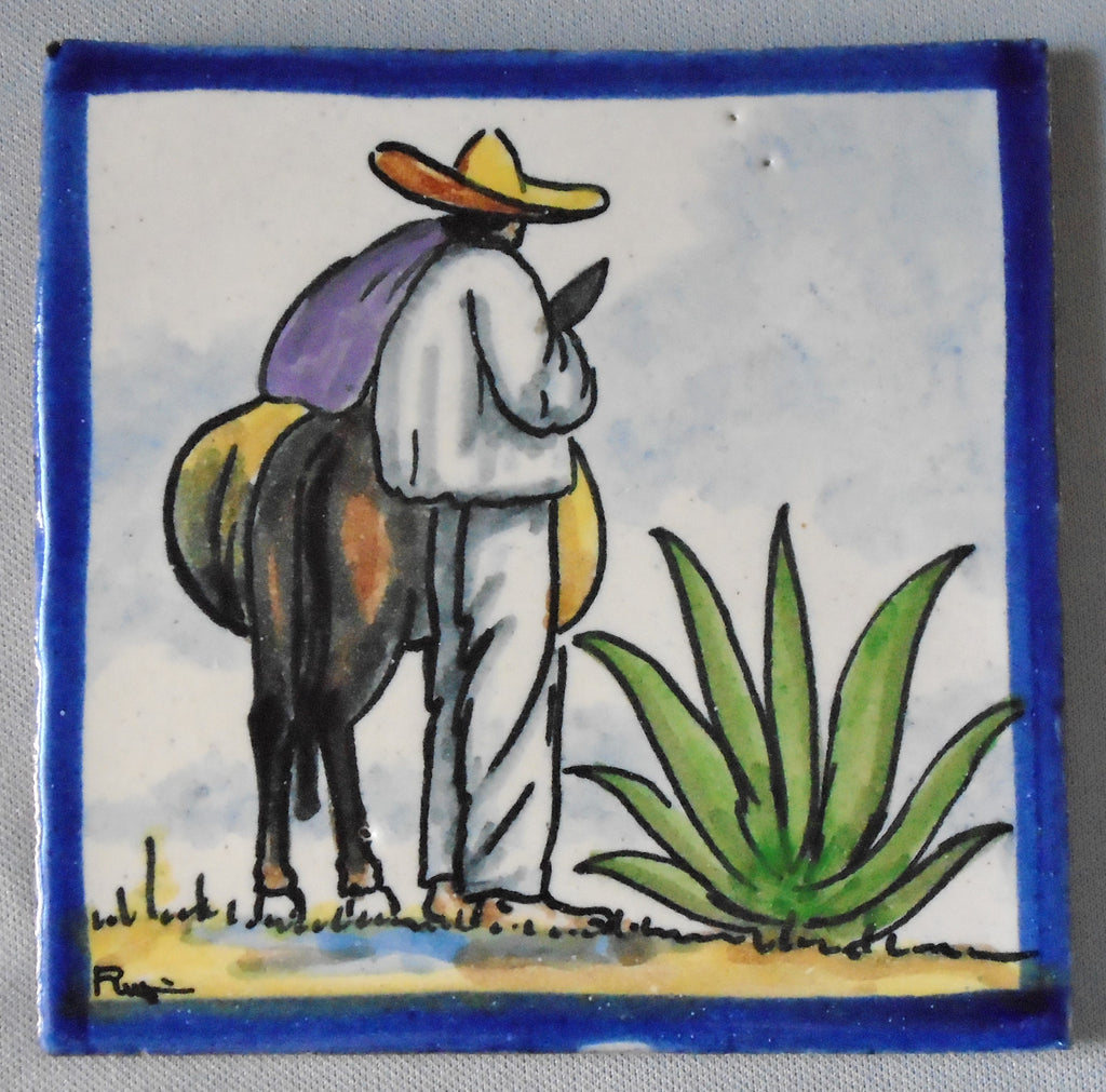 Vintage Rugerio Mexican Talavera Tile Man, Burro and Agave Bungalow Bill Antique